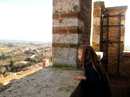 Lulu looking out across Siena